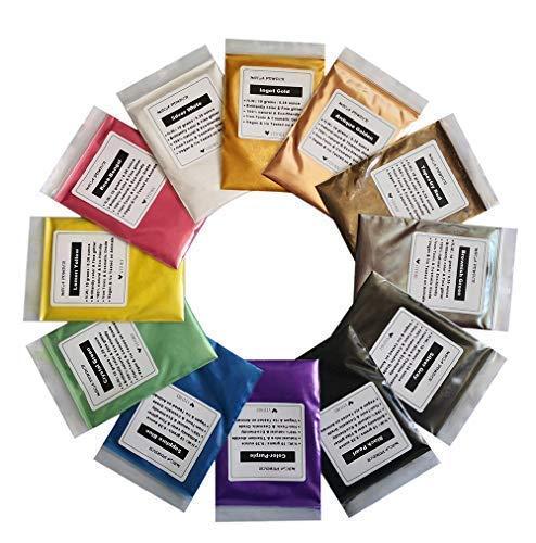 VITORY Pure Mica Polvo (12 colores 10 g/0,35 oz cada uno), brillante colorante pigmento en polvo paquetes (epoxi, pintura, jabón, baño Boom, cosmético, delgado, arte) – pigmento vitorio