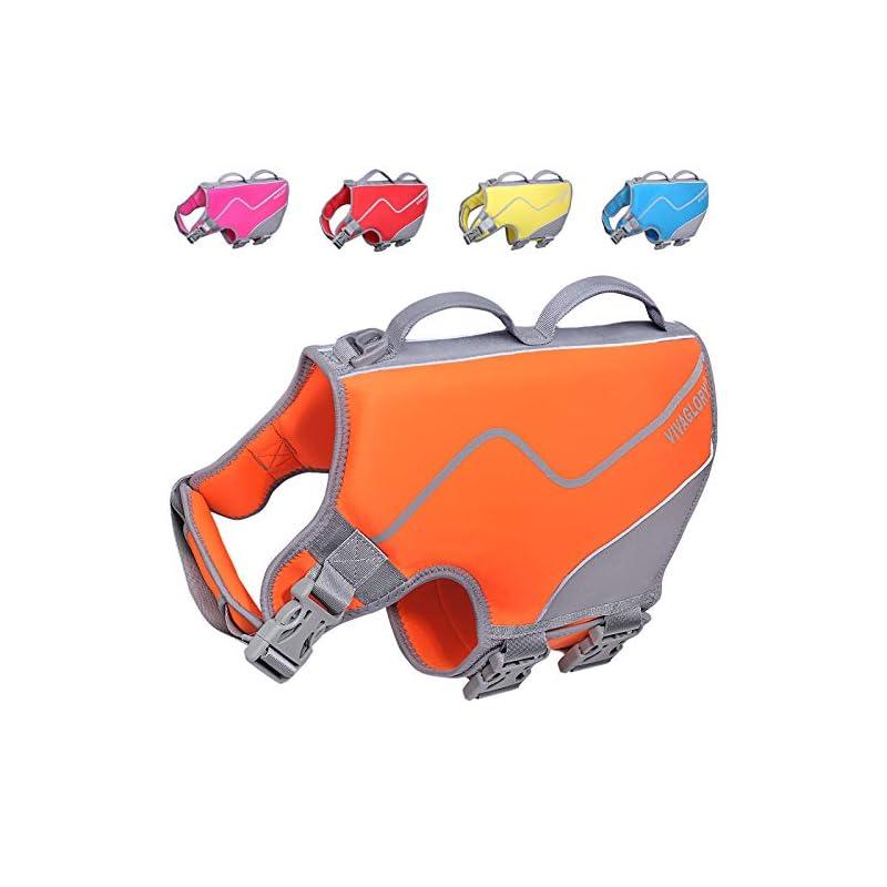 dog supplies online vivaglory neoprene dog life jacket, sports style dog life preserver with superior buoyancy & strong handle, orange l