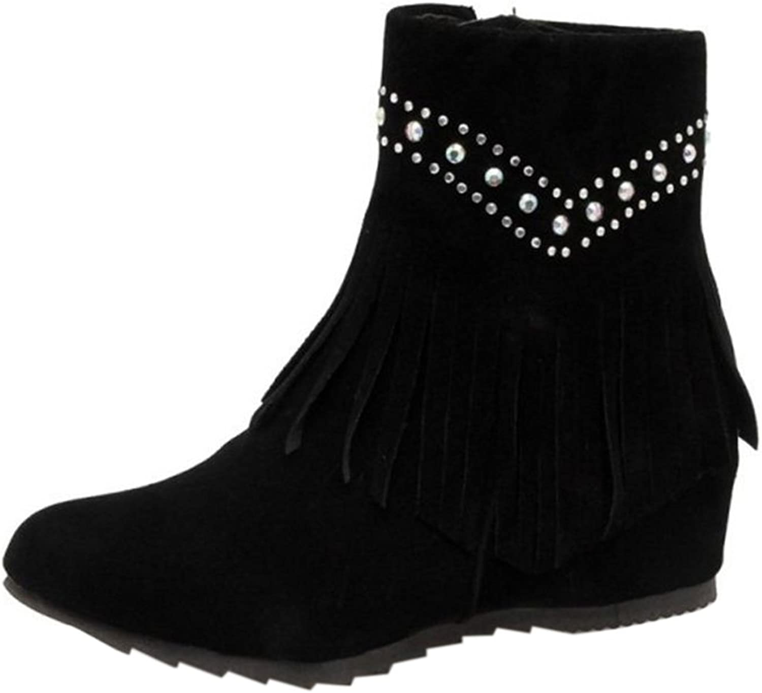 CuteFlats Women Ankle Boots with Wedge Heel and Tassels Casual Boots with Large