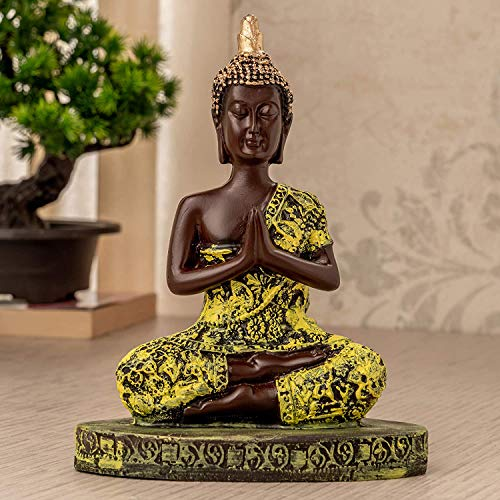 TIED RIBBONS Vastu Buddha Idol Statue Collectible Figurine for Home Bedroom Table Top Indoor Shelf Living Room Decoration Yoga and Gifting Namaskara Mudra Abstract (16 cm X 12 cm)