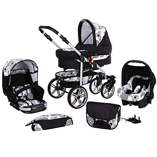 Kinderwagen 3in1 2in1 Set Isofix Buggy Kombikinderwagen X-Car by SaintBaby Schwarz & 70er Jahre 4in1 Autositz +Isofix