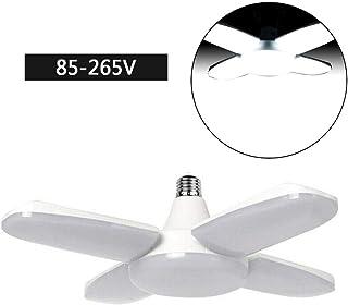 80W 8000LM Luz de Techo deformable E27 / E26 Luz de Trabajo Bombilla LED, Aspa de Ventilador Plegable superbrillante Luz de Garaje, Destacar Bombillas de Cuatro Hojas para Herramientas de jardín