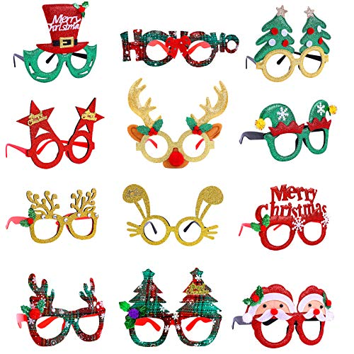 Ruisita 12 Pack Christmas Glasses Sets Creative Funny Eyeglasses Frame Christmas Costume Glasses Glitter Design Santa Party Glasses Assorted Styles for Xmas Party and Holiday Favors