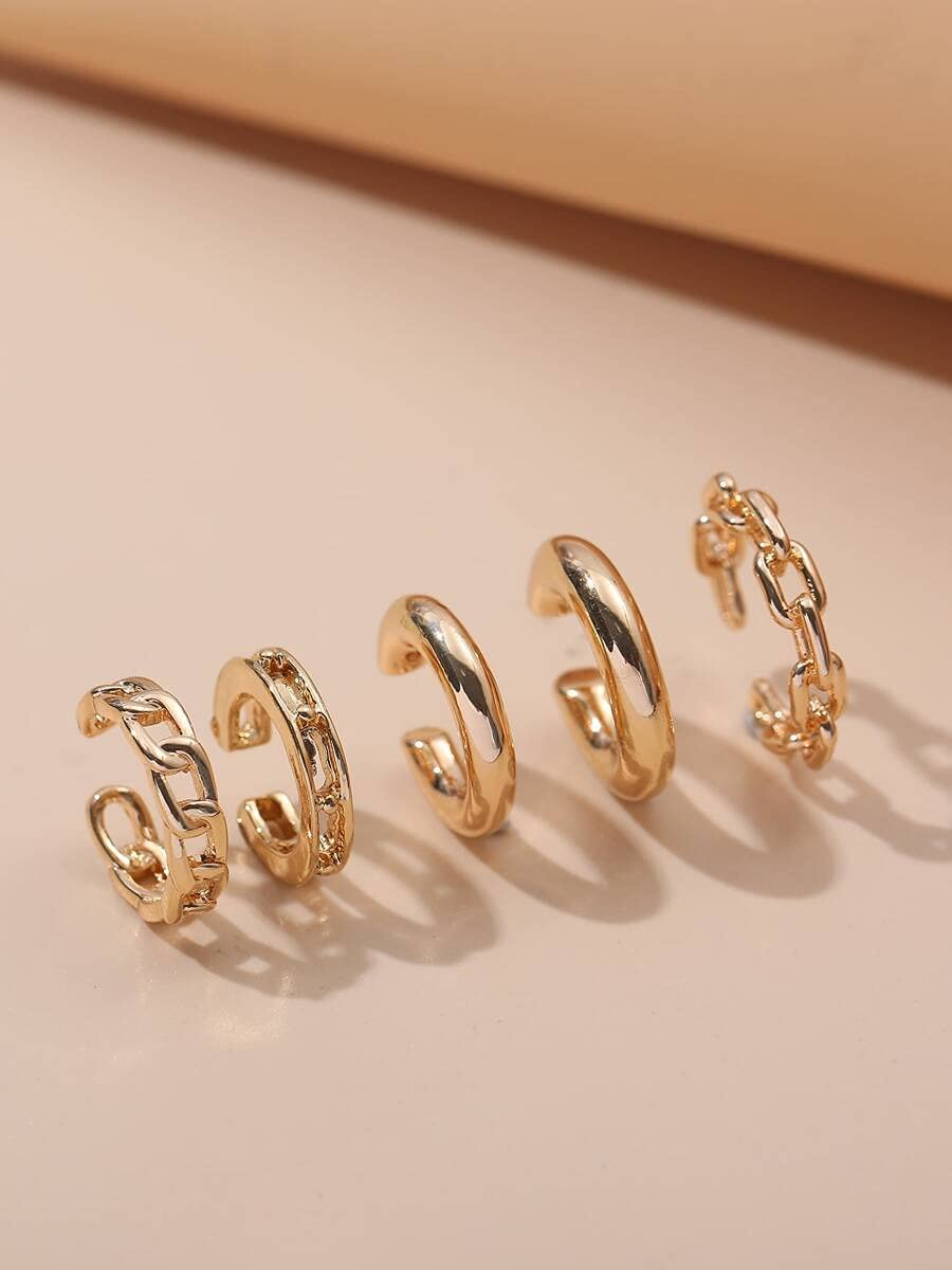 AXJTNL Hoop Earrings 5pcs Metal Ear Cuff (Color : Gold)