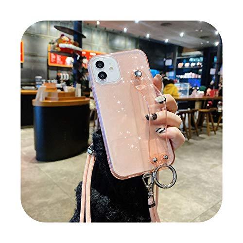 Crossbody - Correa de muñeca fluorescente para iPhone 12 11 Pro Max XR XS Max X 7 8 Plus 11 12 Mini Glitter transparente Lanyard Cover-T5-para iPhone 12Pro