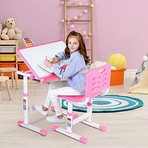 Cocoarm Set scrivania e Sedia per Bambini e studentiin Altezza 0~45 °Regolabile per scolastici multifunzionali con Lampada Banco Scuola Regolabile in Altezza Regali per Bambini (Rosa)