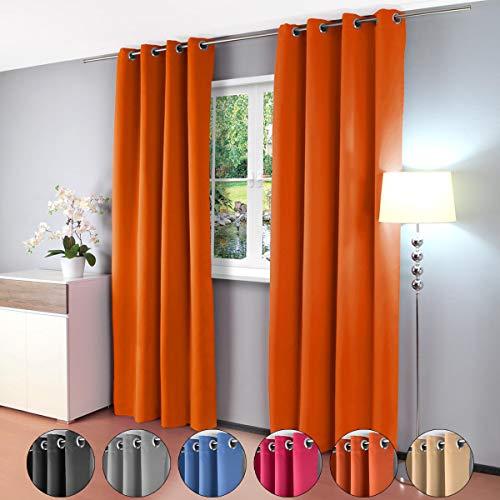 Gräfenstayn 2 Pezzi Alana - Tenda Termica Monocolore Opaca con Occhielli - Double Pack - 135 x 245 cm - Molti Colori attraenti - Tenda per camere da Letto, salotti e Molte Altre stanze (Arancio)