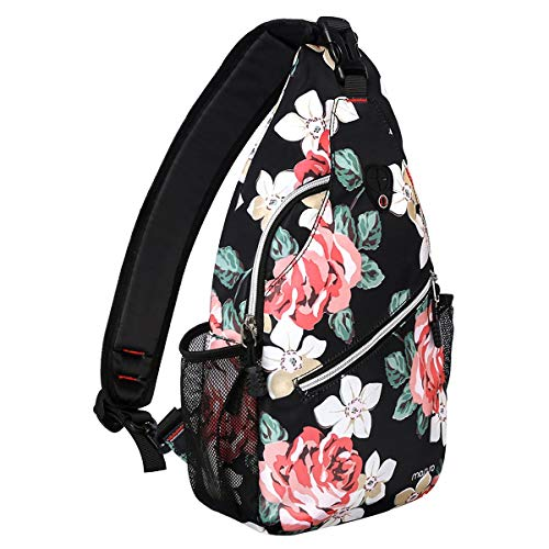 MOSISO Sling Backpack,Travel Hiking Daypack Pattern Rope Crossbody Shoulder Bag, Black Base Rose
