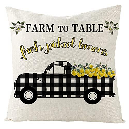 MissW Lovely Daisy Summer Lemon Series Funda De Almohada Decorativa Engrosada con Cremallera Funda De Cojín Lavable Adecuado para El Cojín del Sofá del Hogar