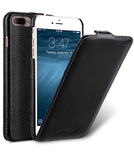 MELCKO Tasche passend für Apple iPhone 8 Plus & 7 Plus (5.5 Zoll), Hülle Außenseite aus beschichtetem Leder, Schutz-Hülle klappbar, Flip-Hülle, Etui, Ultra-Slim Cover, Schwarz
