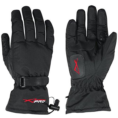 A-Pro Guantes de Invierno para Motocicleta, Acolchados, Suaves, Impermeables, Color Negro, XL