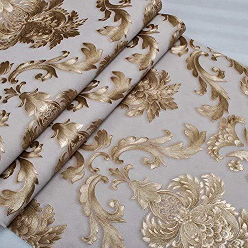 Kaluori Luxus Metallic Gold Textured Damast Tapeten Wandaufkleber Tapetenrollen für Wohnzimmer Esszimmer Schlafzimmer Bars 20.86x393.7 Zoll / 53x950cm (Prägung)