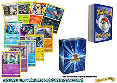 50 Pokemon Random All Rare or Holo Cards Featuring Sword & Shield Rebel Clash! Includes a Golden Groundhog Box! by OSP