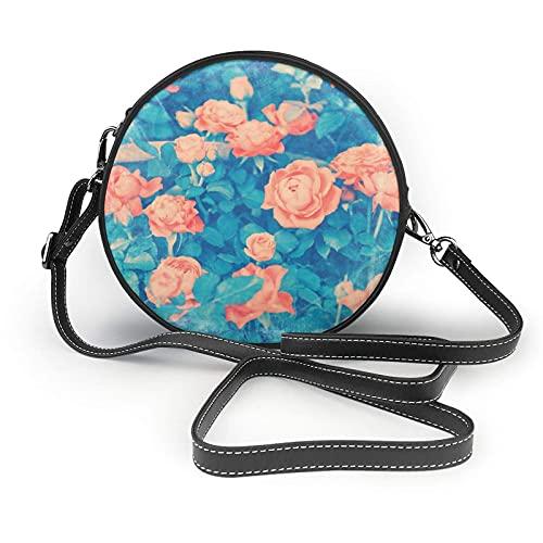 AKERCY-CASE Borsone da donna con motivo floreale, rosa e blu, vintage, con cerchi, in microfibra di pelle