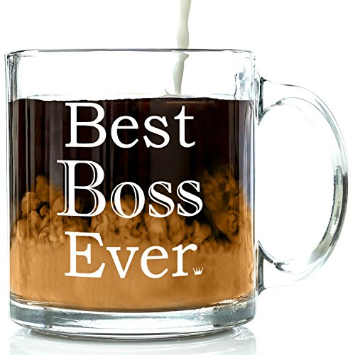Best Boss Ever Glass Coffee Mug 13 oz - Unique Birthday Gift For Men & Women, Him or Her - Best Office Cup & Christmas Present Idea For Male or Female...