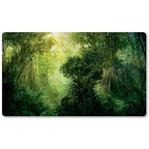 Green-Mana-Forest–Jeu de Société MTG Tapis de Jeu de Table Jeux Taille 60x 35cm Tapis de Souris Tapis de Jeu pour YU-Gi-Oh Pokémon Magic The Gathering