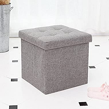 epeanhome Ottoman with Storage,Storage Ottoman Linen Folding Stool,Storage Cube Basket Bins Organizer Containers,Collapsible 15  Cube,Foot Rest Seat,Clutter Toys Collection (gray)
