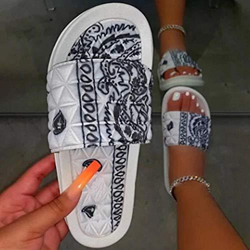 ypyrhh Femmes Et Hommes Intérieur Chaussures,Fruits de Noix de cajou,Satin cola,Pantoufles d'été-Blanc_38,Couples Chaussures de Plage décontractées