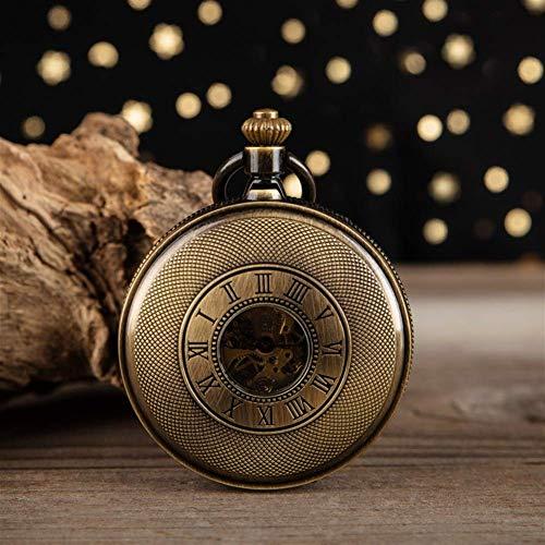 Reloj de Bolsillo, Reloj de Bolsillo mecánico Hueco de Bronce Antiguo, Reloj de Bolsillo mecánico Romano, Collar de Reloj de Bolsillo Retro con Tapa, Tablas específicas para Estudiantes Anti