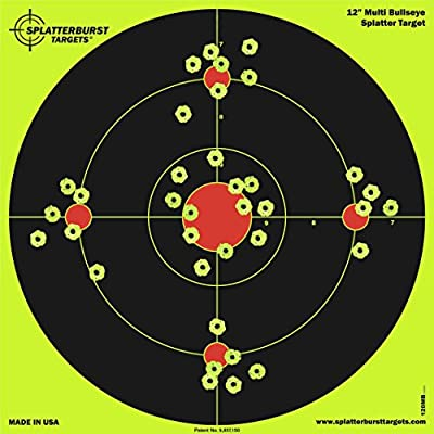 Splatterburst Targets - 12 inch Multi-Bullseye Reactive Shooting Target - Shots Burst Bright Fluorescent Yellow Upon Impact - Gun - Rifle - Pistol - AirSoft - BB Gun - Pellet Gun - Air Rifle (50 Pack)
