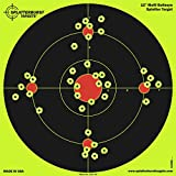 Splatterburst Targets - 12 inch Multi-Bullseye Reactive Shooting Target - Shots Burst Bright Fluorescent Yellow Upon Impact - Gun - Rifle - Pistol - AirSoft - BB Gun - Pellet Gun - Air Rifle (25 Pack)