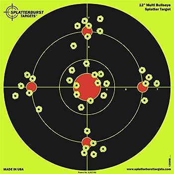 Splatterburst Targets - 12 inch Multi-Bullseye Reactive Shooting Target - Shots Burst Bright Fluorescent Yellow Upon Impact - Gun - Rifle - Pistol - AirSoft - BB Gun - Pellet Gun - Air Rifle  25 Pack