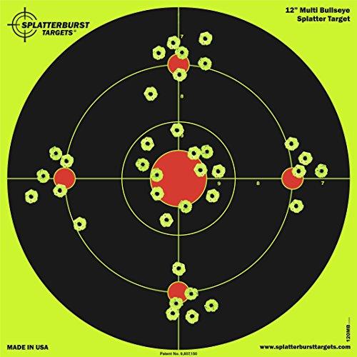 Paquete de 25 - 30,5 cm Splatterburst Multi Bullseye Objetivo de disparo - Vea fácilmente los brillantes agujeros de bala fluorescentes - Excelente para armas, rifles, pistolas y pistolas de aire.