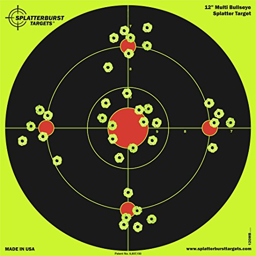 Splatterburst Targets - 12 inch Multi-Bullseye Reactive Shooting Target - Shots Burst Bright Fluorescent Yellow Upon Impact - Gun - Rifle - Pistol - AirSoft - BB Gun - Pellet Gun - Air Rifle (10 Pack)