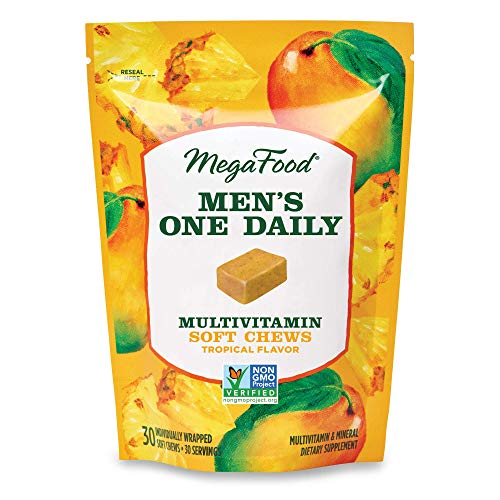 MegaFood, Men's Multivitamin Soft Chews, Daily Supplement, Supports Optimal Health and Well-Being, Gluten-Free, Vegetarian, Tropical, 30 Chews (30 Servings)