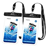 MoKo Bolsa Impermeable para Teléfono, [2 PZS] Estancas Flotante Funda Universal con Correa para iPhone 12,12 Mini,12 Pro, iPhone 11, 11 Pro,11 Pro MAX,Pixel 4XL,Samsung Galaxy S9/S21 - Negro+Negro