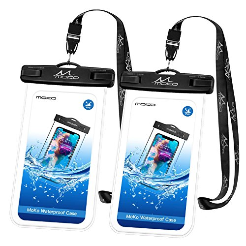 """MoKo Waterproof Phone Pouch [2 Pack], Underwater Phone Case Dry Bag with Lanyard Compatible with iPhone 12 Mini/12 Pro, iPhone 11 Pro Max, X/Xs/Xr/Xs Max, 8/7, Samsung S21/S10/S9, Note 10/9/8 up to 8"""""""