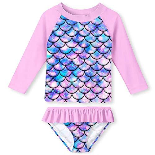 Novelty Girls Rashguard Swimsuit Size 5 Fashion Bikini 2 Pieces Set 3D Fish Scales Pink Stretch Breathable Swimwear Long Sleeve Shirt