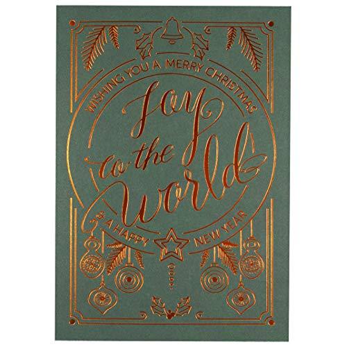 Weihnachtskarten 'JOY' - 10er Klappkarten mit passenden Einlegekarten und Umschlägen - zum einfachen Selberbedrucken