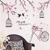 Pegatinas de pared de flores de cerezo vinilo DIY jaula de pájaros Decoración de pared para sala de estar, dormitorio, cocina, decoración del hogar