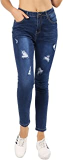 JMITHA Women's Distressed Ripped Slim Fit Skinny Jeans Classic Denim Style