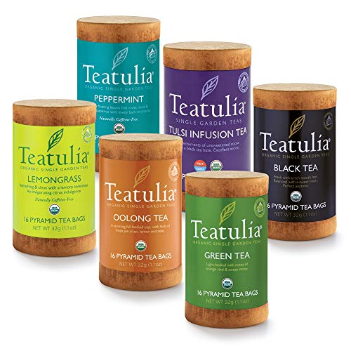 Teatulia Organic Tea Sampler Gift Set, 96 Premium Pyramid Tea Infuser Bags in 6 Assorted Varieties (Tulsi, Peppermint, Black, Oolong, Green, Lemongrass) Eco-Friendly Assortment Box for Tea Lovers