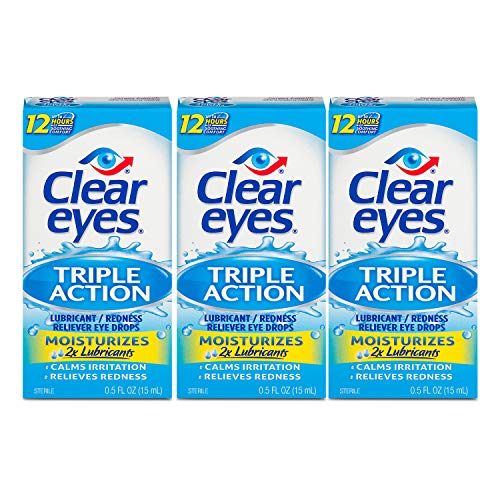 Clear Eyes Eye Drops, Triple Action Lubricant, 0.5 oz, Pack of 3