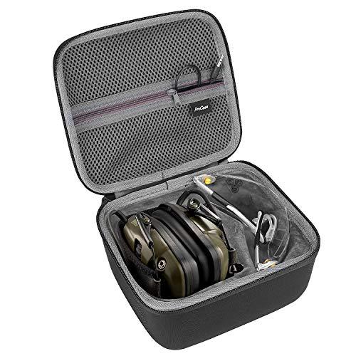 ProCase Estuche Goma EVA para Howard Leight Impact Sport Orejera Eléctrica y Genesis Sharp-Shooter Gafas de Seguridads, Caja Foam de Viaje con Bolsillo de Malla para Accesorios -Negro