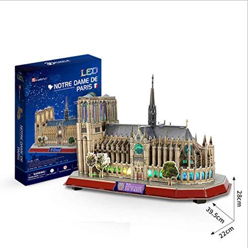 DIY Rompecabezas De Notre Dame de Paris 3D Lglesia Gótica Juguetes LED Kits de Modelos Decoración De Mobiliario Exquisita, Adecuado para La Colección (149Pcs)