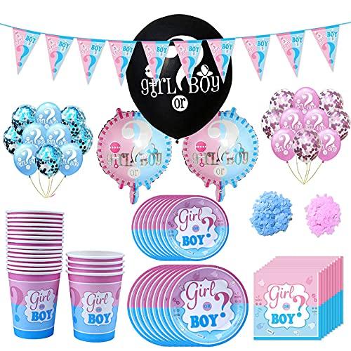 Amycute Kit Festa per Baby Shower Gender Reveal Party, con Tazze, Piatti, tovaglioli, Palloncini in Lattice, coriandoli, bandierina
