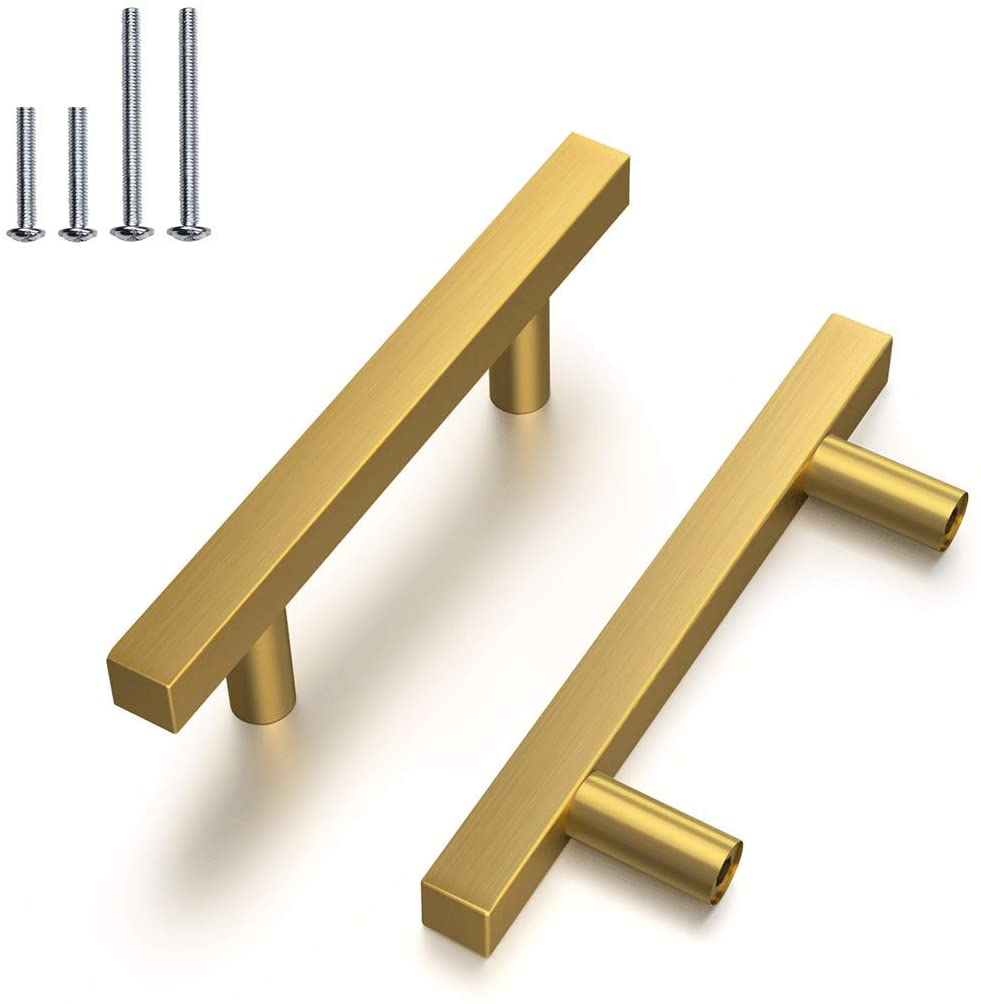 12 Pack |3'' Drawer Pulls Brushed Brass Stainless Steel Kitchen Cabinet Handle,Gold Square Kitchen Handle Pull Cabinet Hardware,Hole Centers:76mm