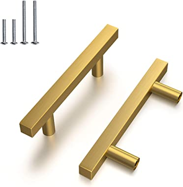 "Brushed Brass Drawer Pulls 3"" 76mm Pack of 12 Kitchen Furniture Hardware Bathroom Cupboard Door Pull Handles Gold Cabinet Knobs T Square Bar Handle 5"" 128mm Length"
