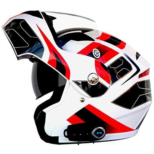 ZHEN Casco Bluetooth Modular de Cara Completa para Motocicleta, Casco de Motocross abatible Integrado con Visera antiniebla, Casco de protección Ligero para Carreras toECEerreno Aprobado por ECE