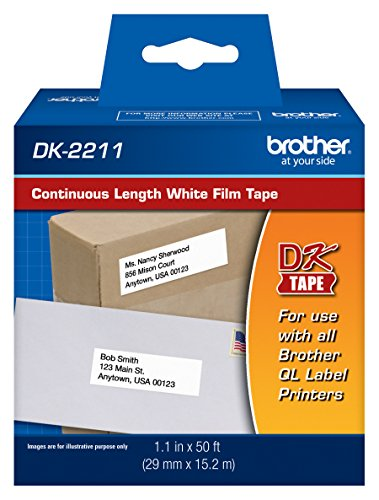 "Brother Genuine DK-2211 Continuous Length Black on White Film Tape for Brother QL Label Printers, 1.1"" x 50' (29mm x 15.2M), 1 Roll per Box, DK2211"