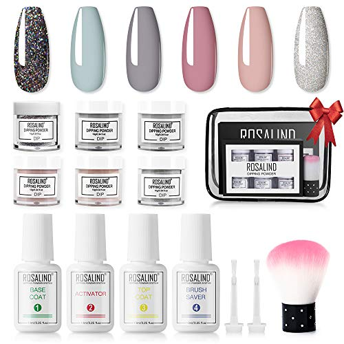 Dipping Powder Nails Set, ROSALIND Dip Powder Pulver Nagel Starter Kit mit Nagelfeile Pinsel French Manicure Set