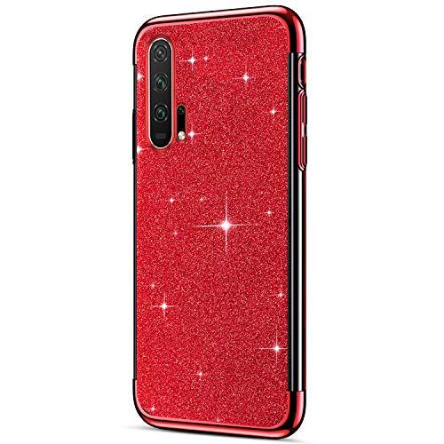 Hpory Cover Huawei Honor 20 Pro, Custodia Huawei Honor 20 Pro - Glitter Brillante Silicone Custodia Morbido Gel TPU Cover Back Case Antiurto Custodia Protettiva Bumper [Shock-Absorption], Rossa