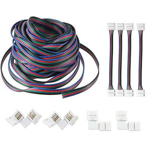 AREOUT 39.3ft/12M 4Pin Cable de Extensión de LED RGB Luz de Tira del Conector para SMD 5050 3528 2835 Luces-Kit de Conectores
