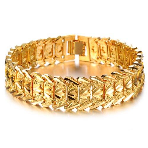 Ssokatye Armband Herren Breit, 17mm Breite Kupfer Gliederarmband Armreif 18k Gold Plattiert 21cm Glieder Kette für Herren, Gold