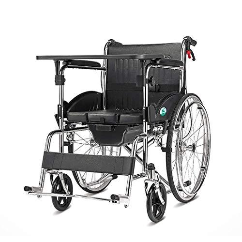 Cajolg Rollstuhl Faltbar,Mit Essbrett, Toilettensitz hohe tragfähigkeit Erwachsene Rollstühle,Rollator Faltbar Leichtgewicht