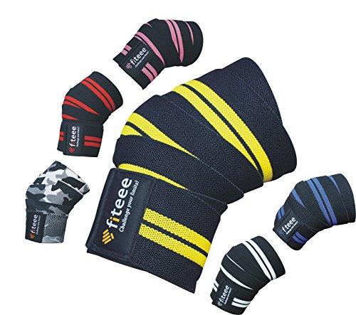BOUT3 Kniebandage 166cm x 8cm (ohne Dehnung), Kniebandage mit Klettverschluss für Fitness, Bodybuilding, Kraftsport & Crossfit, Gelenkprobleme - Frauen/Männer (Knie Gelb)